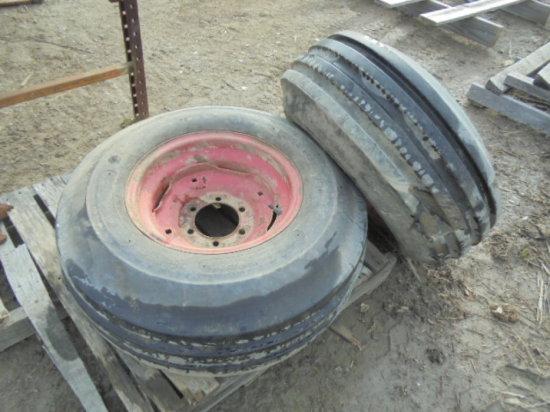 Pair of 11L-15 4 Rib Tractor Front Tires & 6 Bolt Rims