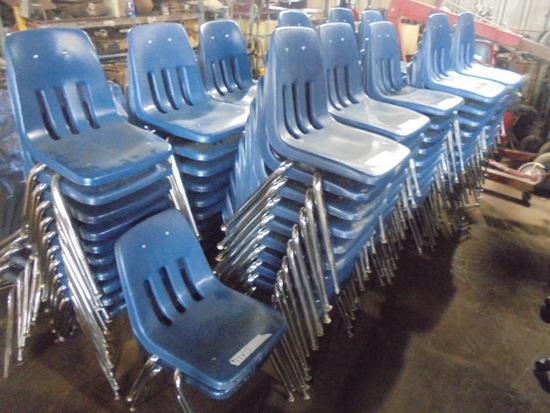 Blue Plastic Chairs w/ Metal Legs x 12