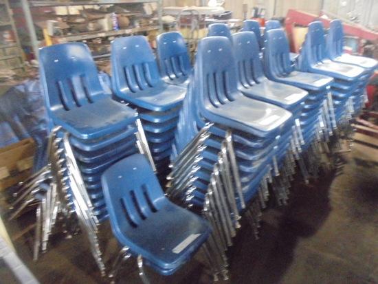 Blue Plastic Chairs w/ Metal Legs x 20