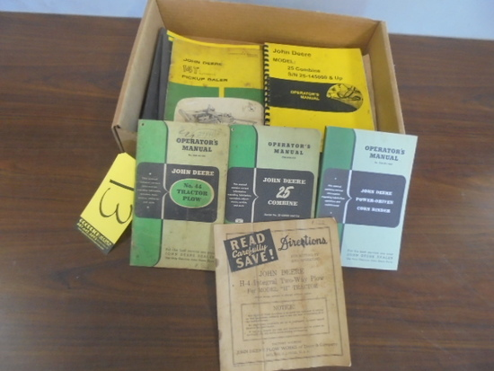 Box Of JD Implements Operator Manuals
