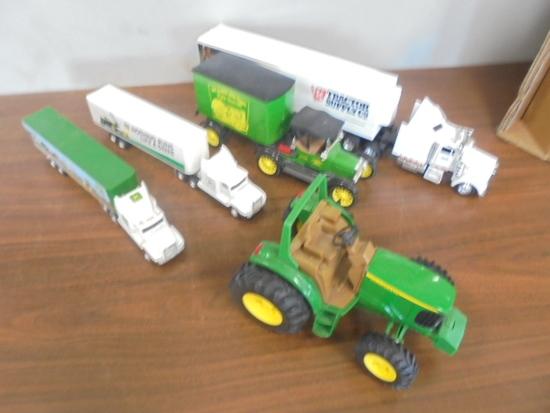 (4) Trucks & JD Tractor Toy
