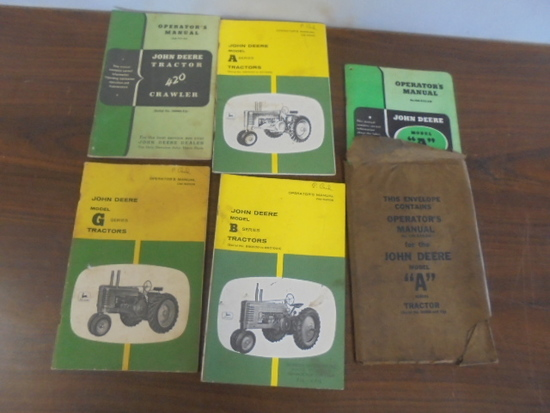 (5) John Deere Operators Manuals. (2) A, B, G, 420 Crawler