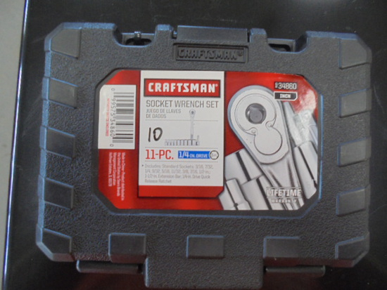 "New Craftsman 11 PC 1/4"" Socket Set w/ Ratchet"