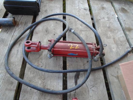 Red Hydraulic Cylinder w/ Hoses
