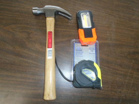 Hammer, Work Light, Tape Measure Bundle