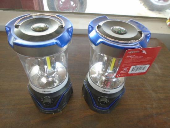 (2) Blue Battery Powered Camping Lanterns