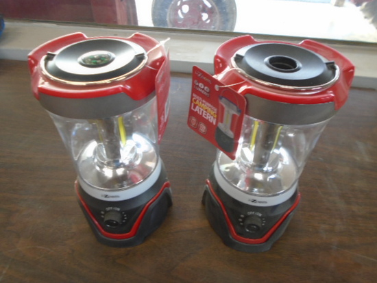 (2) Red Battery Powered Camping Lanterns