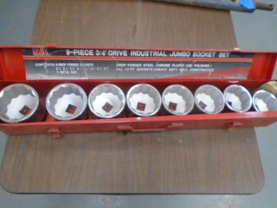 "New 9 Pc 3/4"" Drive Jumbo Socket Set w/ Case"