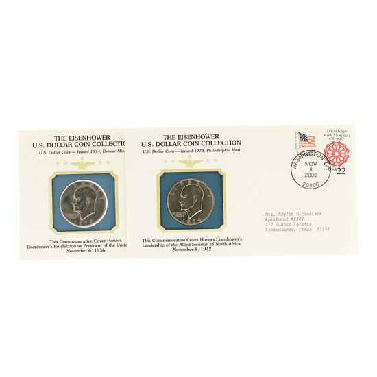 Lot of 1974 & 1974-D Eisenhower Dollars Collection Coin Cover & Stamp