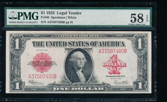 1923 $1 Legal Tender Note PMG 58EPQ