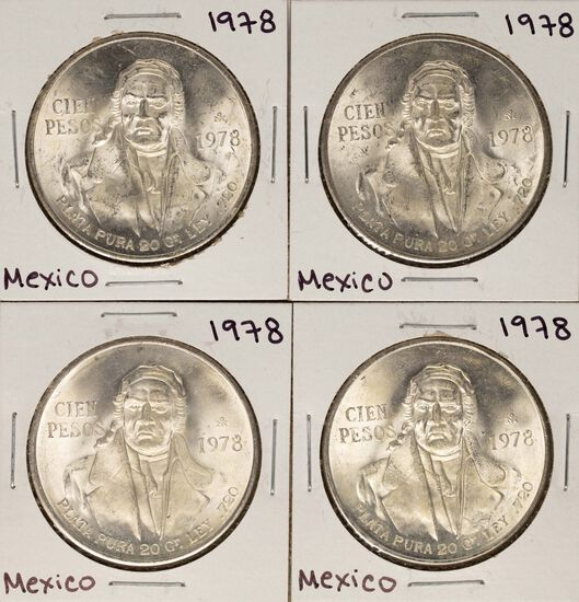 Lot of (4) 1978 Mexico Cien Pesos Silver Coins