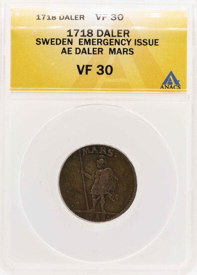 1718 Sweden Emergency Issue AE Daler Mars Coin ANACS VF30