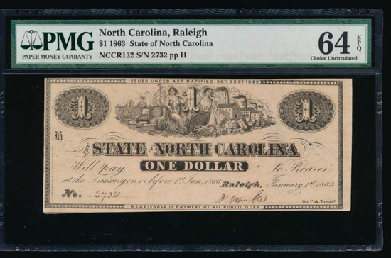 1863 $1 Raleigh NC Obsolete Note PMG 64EPQ