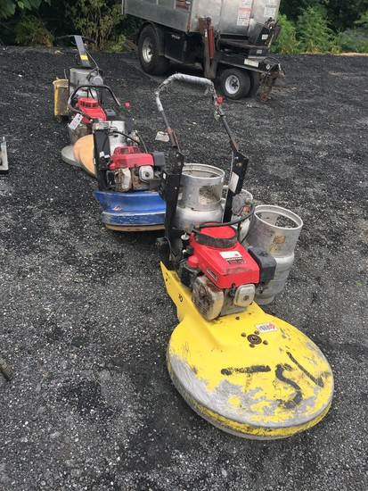 Lot of 3 propane floor buffers