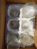 7 chemical beakers & glass measurements