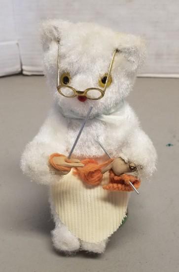 Vintage Wind-Up Knitting Bear