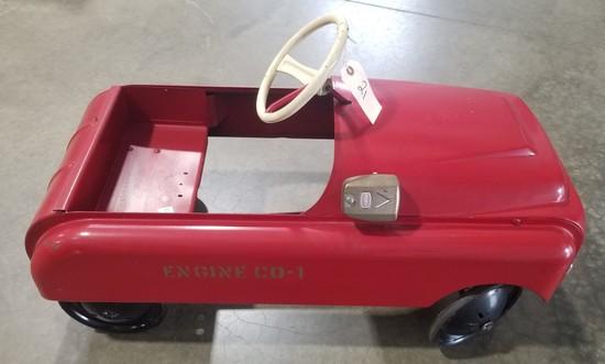 Vintage Metal Fire Truck Pedal Car