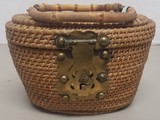 Vintage Wooden Basket with Bamboo Handle