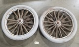 Pair of Early Wooden / Rubber Car Wheels