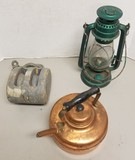 Lot with Copper Kettle, Lantern & Wooden Pulley
