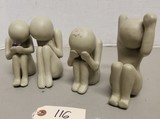 (4) Stern Contemporary Signed Clay Figurines