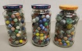 (3) Jars of Assorted Glass Marbles