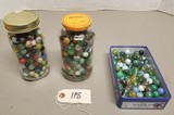 (3) Containers of Assorted Glass Marbles