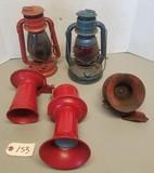 (2) Vintage Oil Lanterns & (3) Vintage Horns