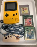 Yellow Game Boy Color, 3-Zelda Games & Cable