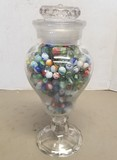 Large Glass Apothecary Vase with Marbles