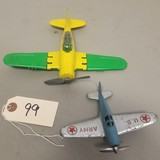 (2) Small Hubley Airplane Toys