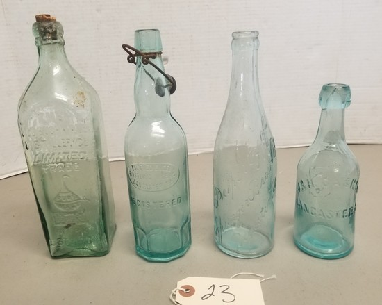 4 Early Hand Blown Lancaster, PA Bottles,