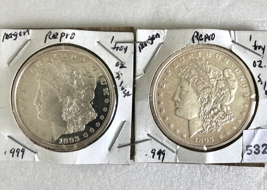 2, Morgan dollar, repros in silver,