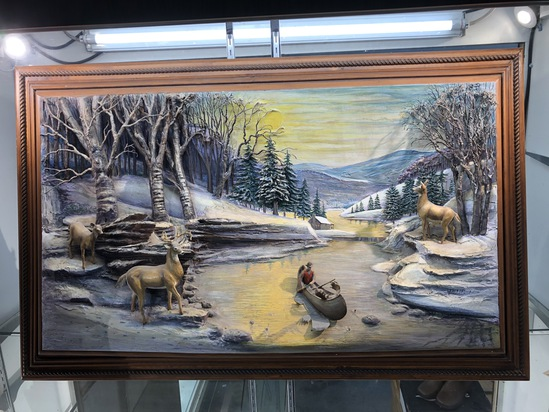 """Abner Zook 3D Hunting Scene Painting 31"""" X 48"""""""