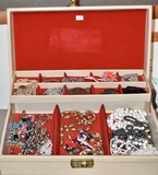 Jewelry Box with Chains, Necklaces, Pins,
