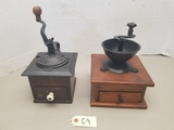 (2) Early Wooden / Cast Iron Coffee Grinders