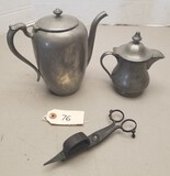 2 Vintage Marked Pewter Pitchers & Candle Snuffer