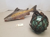 Primitive Wooden Hand Carved Fish & Bouy Ball