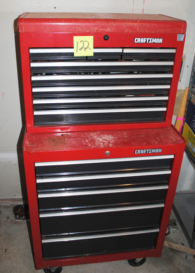 """Craftsman 2-Piece Stackable Toolbox with Sockets, wrenches, screwdrivers, hammers,  (Top is 26"""" wide"""