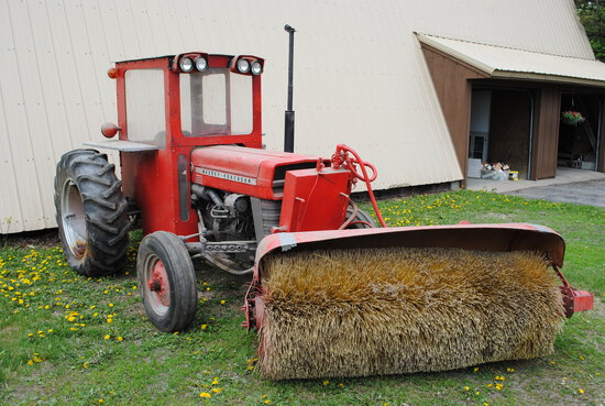Massey Ferguson 135 Tractor with 6' hydraulic up and down front-mount broom, power steering, shows 2