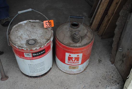Massey Ferguson 5-gallon transmission & hydraulic can, Midland 5-gallon can