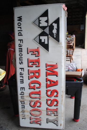 """Massey Ferguson World Famous Farm Equipment"" plastic sign 70""x28-1/2"""
