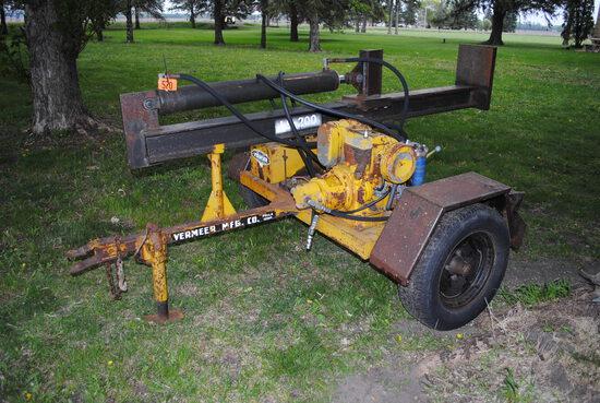 Vermeer LS200 wood splitter, vertical & horizontal, 3' ram, set up to run on hydraulics, has bad mot