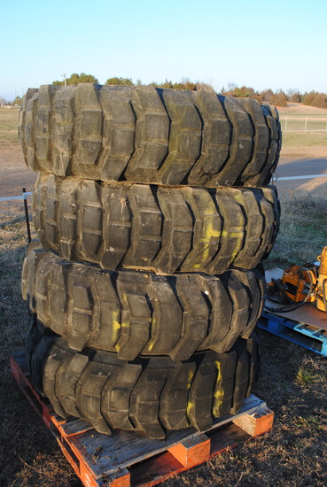 (4) 1600x20 Michelin grader tires, good tread (sell as pile)