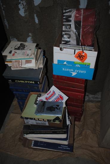 Machinist magazines, Champion spark fender cover, Motor Parts & Tire guide books, Motor Auto Repair