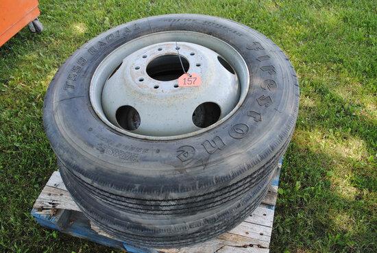 Pair of Firestone 9R22.5 12PR tires on rims (sell as pair)