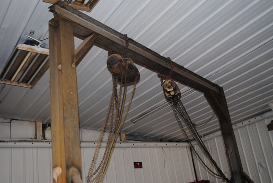 Large Chain Hoist, made by Floyd, approximately 8' wheel base and 11' to bottom of