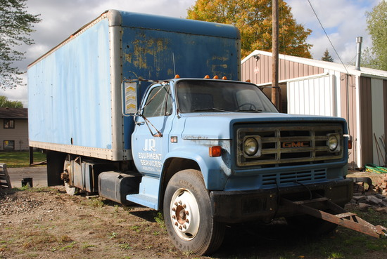 1983? GMC 7000 Box Truck with V8 gas motor, used for storage. Recently had running. Needs tune up an