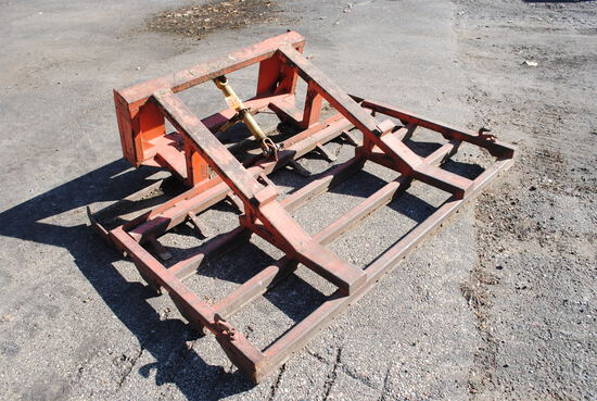 """72"""" Leveling Bar with teeth, not hydraulic, built by Floyd, with skid loader quicktach plate"""