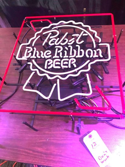 Pabst Blue Ribbon Neon Damaged
